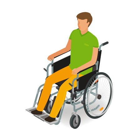 hernia: Wheelchair user, disabled, handicapped people icon or symbol in cartoon, vector illustration flat style
