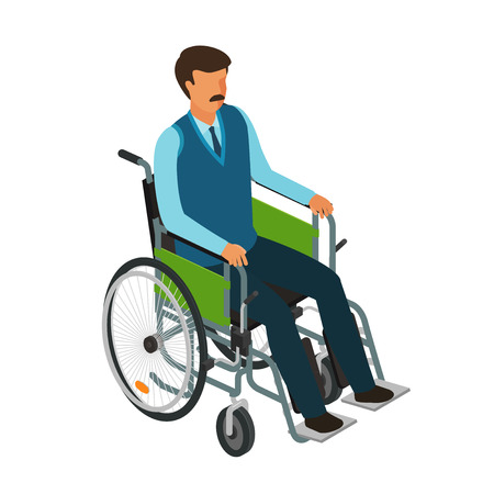 Man sits in wheelchair. Invalid, disabled, cripple icon or symbol. Cartoon vector illustration