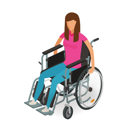 Girl, woman sitting in wheelchair. Invalid, disabled, cripple icon or symbol. Cartoon vector illustration isolated on white background Illustration