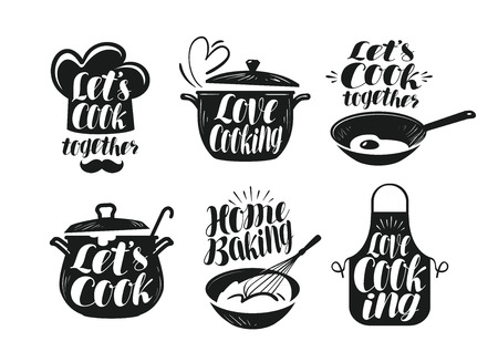 prepare: Cooking, cookery, cuisine label set. Cook, chef, kitchen utensils icon or logo. Handwritten lettering, calligraphy vector illustration
