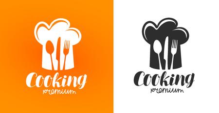 Cooking label or logo. Restaurant, eatery, diner, bistro, cafe icon. Vector illustration Illustration