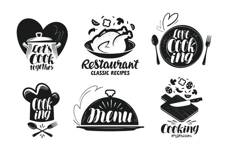 Restaurant, Menü, Lebensmittel-Label-Set. Kochen, Küche, Kochsymbol oder Logo. Beschriftung, Kalligraphie Vektor-Illustration Logo