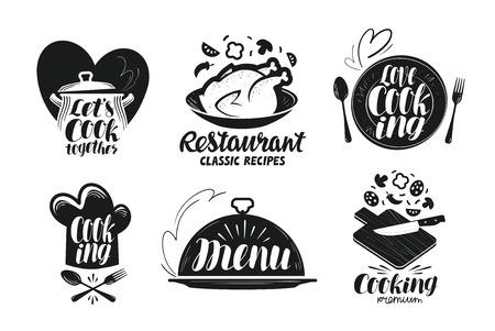 Restaurant, menu, jeu d'étiquettes alimentaires. Cuisine, cuisine, icône de cuisine ou logo. Lettrage, calligraphie, illustration vectorielle Logo