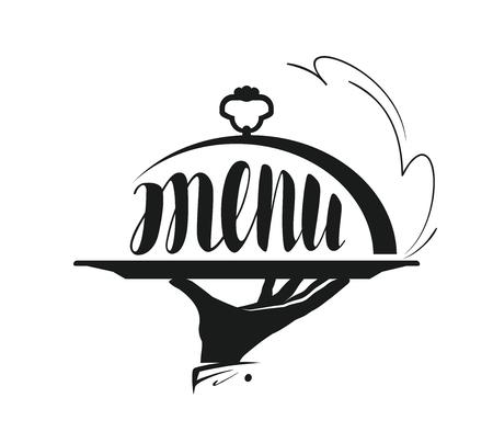 Servicio de comidas, catering logo. Icono para el menú de diseño restaurante o cafetería. Ilustración del vector