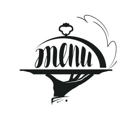 Food service, catering logo. Icon for design menu restaurant or cafe. Vector illustration Vettoriali