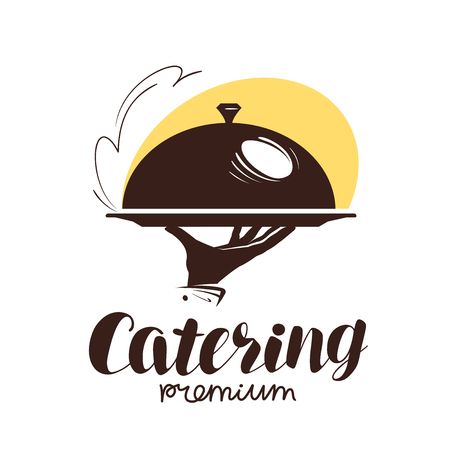 Catering service logo. Icon or label for design menu restaurant or cafe. Vector illustration