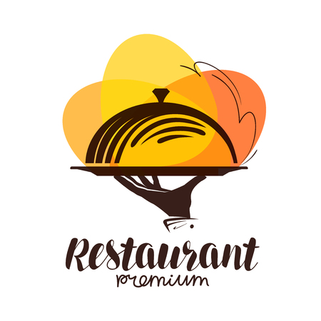 Restaurant logo. Icon or symbol for design menu eatery, canteen or cafe. Lettering vector illustration Stok Fotoğraf - 81892309