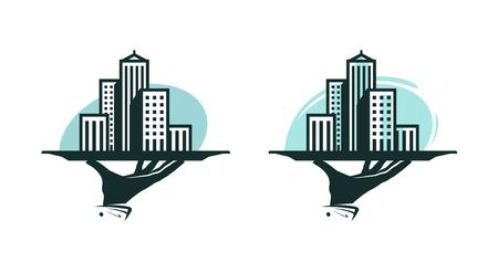City logo. Real estate service, construction, building icon or label. Vector illustration