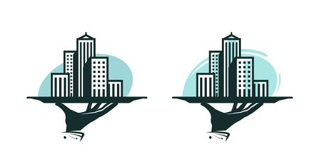 City logo. Real estate service, construction, building icon or label. Vector illustration