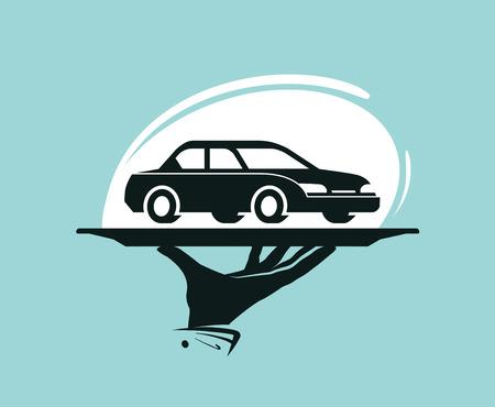 Logo du service de taxis. Lavage de voiture, concessionnaire, concessionnaire, pièces automobiles, icône de location ou étiquette. Illustration vectorielle Banque d'images - 81875717