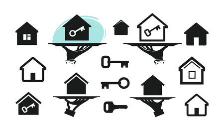 House, home set icons. Building, real estate, key symbol. Vector illustration Ilustração