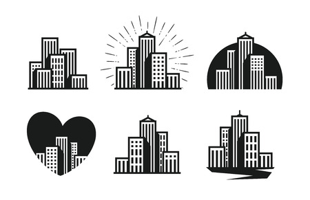 Modern city logo. Skyscraper, building, house, town set of icons. Vector illustration