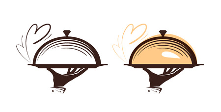 dessert buffet: Catering, cloche logo. Icon for design menu restaurant or cafe. Vector illustration Illustration