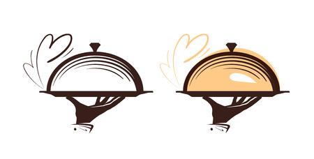 Catering, logo de cloche. Icono para el menú de diseño restaurante o cafetería. Ilustración del vector Foto de archivo - 81950914