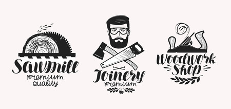 industry: Joinery, sawmill label set. Woodwork shop icon or logo. Handwritten lettering, calligraphy vector illustration Illustration