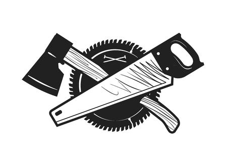 trabajo manual: Carpintería, carpintería, carpintería logo o icono. Ilustración del vector
