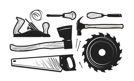 Carpentry, joinery icons. Set of tools such as axe, hacksaw, hammer, planer, disc circular saw, cutters. Vector illustration