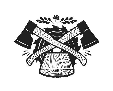 Zaagmolen, felling logo. Houtwerk, schrijnwerk, timmerman of label. Vector illustratie