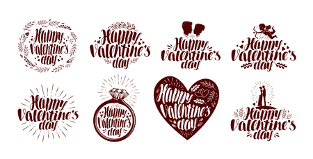 icon vector: Happy Valentines day, label set. Holiday icon or symbol. Lettering, calligraphy vector illustration