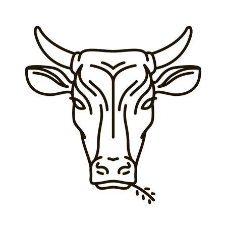암소의 초상화입니다. 농장 동물, 황소 아이콘 또는 로고. 벡터 일러스트 레이 션