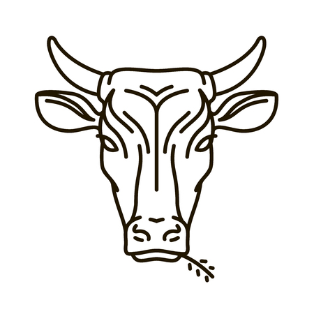 Portrait of cow. Farm animal, bull icon or logo. Vector illustration