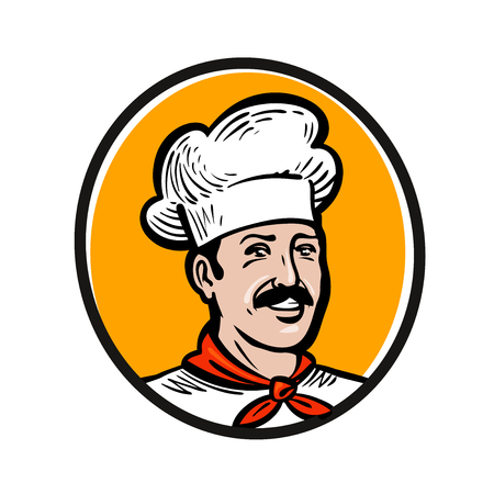 Chef, cook logo. Label or icon for design menu restaurant or catering. Vector illustration