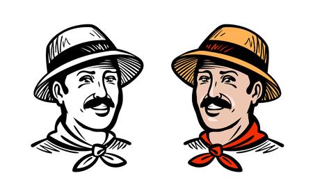 countryman: Portrait of happy farmer or gardener, logo. Farm, farming, gardening, horticulture, agriculture label.