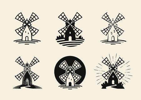 Mulino a vento, logo o etichetta. Set di farina e panetteria. Illustrazione vettoriale