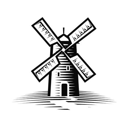 Mill, windmill logo or label. Flour, bakery icon. Vector illustration Vettoriali