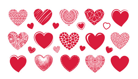 graphic: Red heart  , label. Set icons or symbols on theme of love, wedding, Valentines day. Vector illustration Stock Photo