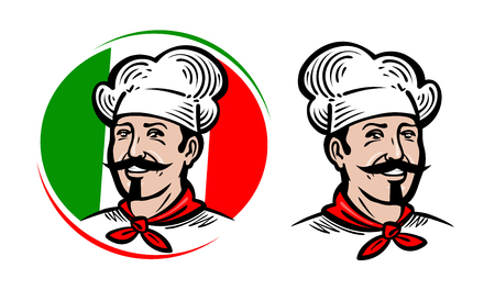 Chef, logo. Italian food, pizza, restaurant, menu label. Cartoon vector illustration Stock Illustratie
