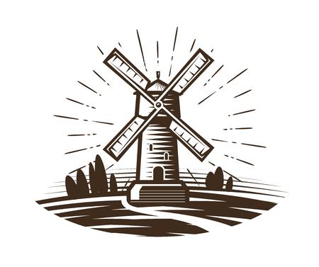 hamlet: Mill, windmill logo or label. Farm, agriculture, bakery, bread icon. Vintage vector illustration