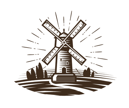 Mill, windmill logo or label. Farm, agriculture, bakery, bread icon. Vintage vector illustration