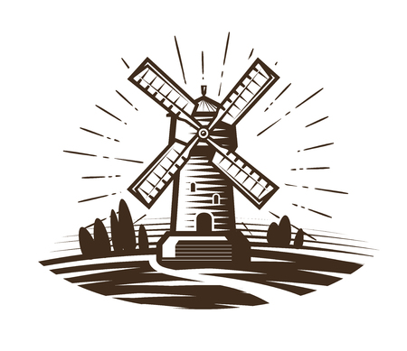 drawings image: Windmill, mill logo or label. Farm, agriculture, bakery, bread icon. Vintage vector illustration