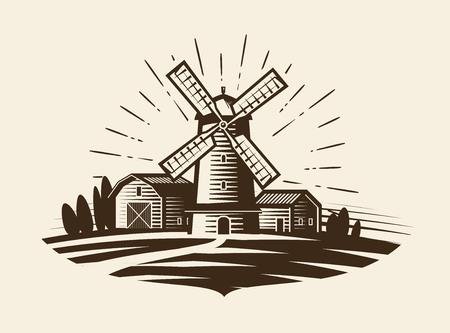 grain: Farm, rural landscape logo or label. Agriculture, agribusiness, village, mill icon. Vintage vector illustration