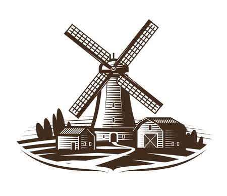 Molino de viento, insignia del molino o etiqueta. Granja, paisaje rural, agricultura, panadería, icono de pan. Vintage ilustración vectorial Ilustración de vector
