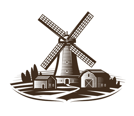 Windmill, mill logo or label. Farm, rural landscape, agriculture, bakery, bread icon. Vintage vector illustration