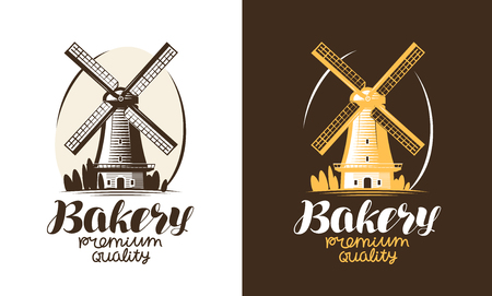 Bakery, bakehouse, bread logo or label. Mill, windmill icon. Handwritten lettering vector illustration