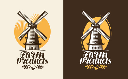 Farm products logo or label. Mill, windmill icon. Lettering, calligraphy vector illustration Illustration
