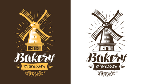 Mill, windmill logo or label. Bakery, bakehouse, bread icon. Lettering, calligraphy vector illustration