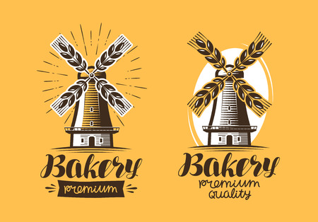grain: Bakery, bakehouse logo or icon. Bread, mill, windmill label. Lettering vector illustration