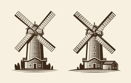 grain: Old wooden mill, windmill logo or label. Agriculture, farming, agribusiness icon. Vintage vector illustration