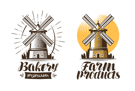 Ancient windmill, mill logo or label. Agriculture, farming, agribusiness icon. Vintage vector illustration