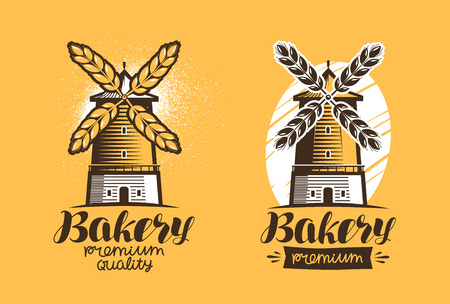 Bakery, bread, pastry   or label. Mill, windmill icon. Lettering vector illustration Illustration