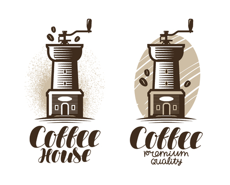 Cafe, coffeehouse   label. Coffee grinder, espresso, drink icon. Lettering vector illustration Illustration