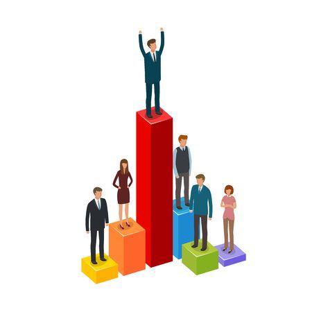 man: Business infographics. Career, achievement, advancement, businessman concept. Vector illustration Illustration