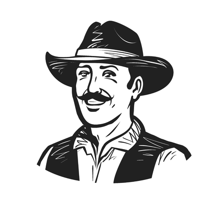 herder: Portrait of happy cowboy or farmer. Grower, winemaker, winegrower, brewer logo or icon. Sketch vector illustration Stock Photo