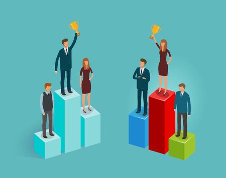 winning bidder: Business concept. Infographics, businesspeople, advance vector illustration
