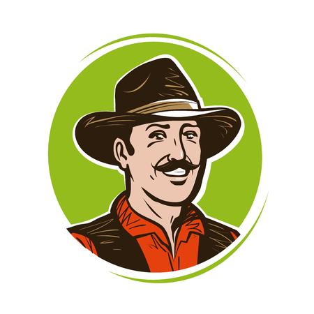 Farmer logo or label. Portrait of happy American cowboy in hat. Cartoon vector illustration