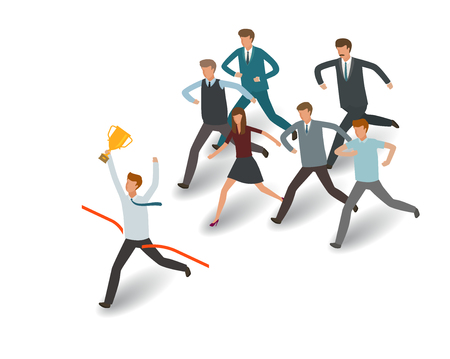 Businessman and group of business people running to the goal Info graph vector illustration
